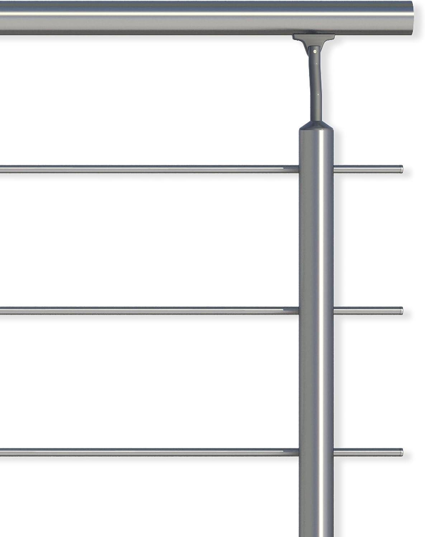 balustrade de balcon ou balustrade de terrasse en aluminium pour lint/érieur et lext/érieur. Utilisable comme balustrade de balustrade Lot de rampes en aluminium de 1,50 m