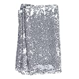 Ling's moment 12 x 108 Inch Sparkly Silver Sequin Table Runner (Hem Edge) for Wedding Party Bridal Shower Baby Shower Christmas Decorations