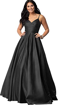 e65fa171e77 Rmaytiked Spaghetti Strap V Neck Ruched Prom Dresses Long 2019 Satin A Line  Formal Evening Ball