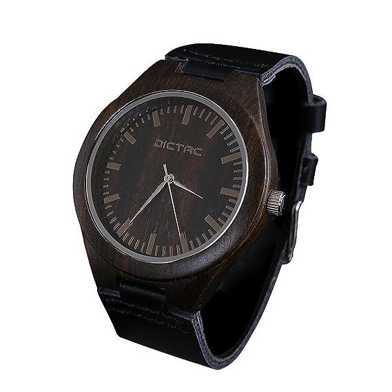 Dictac® Reloj Para Hombre Esfera Negro Cuarzo Japonesa Madera de Ébano Genuino Correa de Cuero: Amazon.es: Relojes