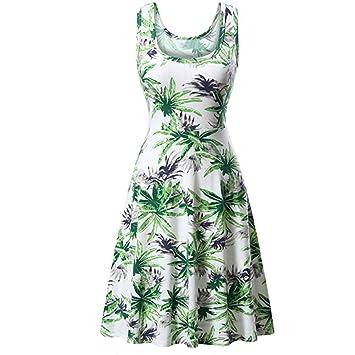 Vestidos sueltos y sencillos para mujer, sin mangas, cuello redondo, verano, playa