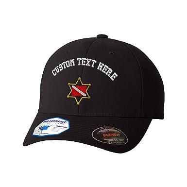 39e7bb38780a1 Amazon.com  Custom Text Embroidered Dive Police Flexfit Hat Baseball Cap   Clothing