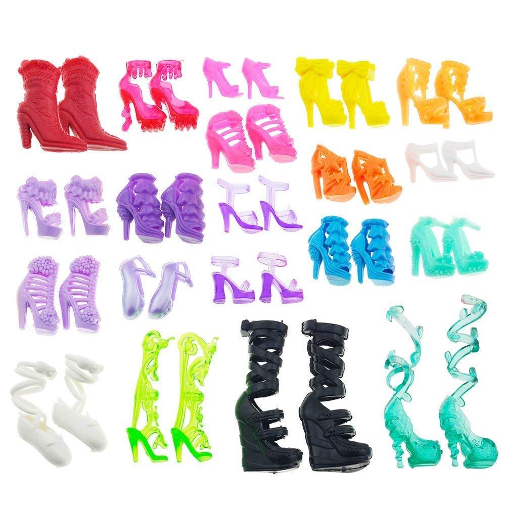 a17bc2faa5f Asiv 60 Pares de Diferentes Zapatos de tacón Alto Botas Accesorios para  muñecas Barbie product image