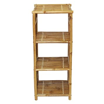 Bamboo54 Wood Patio End Table With Shelf