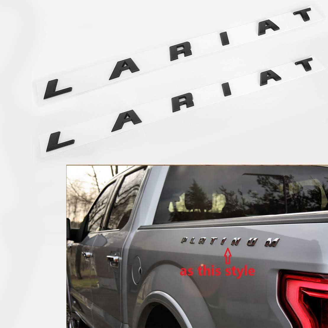 2x OEM Black Lariat Side Fender Emblems letter Lariat Badge 3D logo Replacement for F150 F250 F350 Lariat