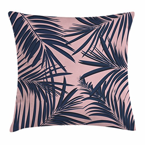 Ambesonne Navy and Blush Throw Pillow Cushion Cover, Summer Exotic Floral Tropical Palm Tree Leaf Banana Plant Hawaii, Decorative Square Accent Pillow Case, 26 X 26 Inches, Night Blue Pale Pink (Shop Tree Banana Furniture)