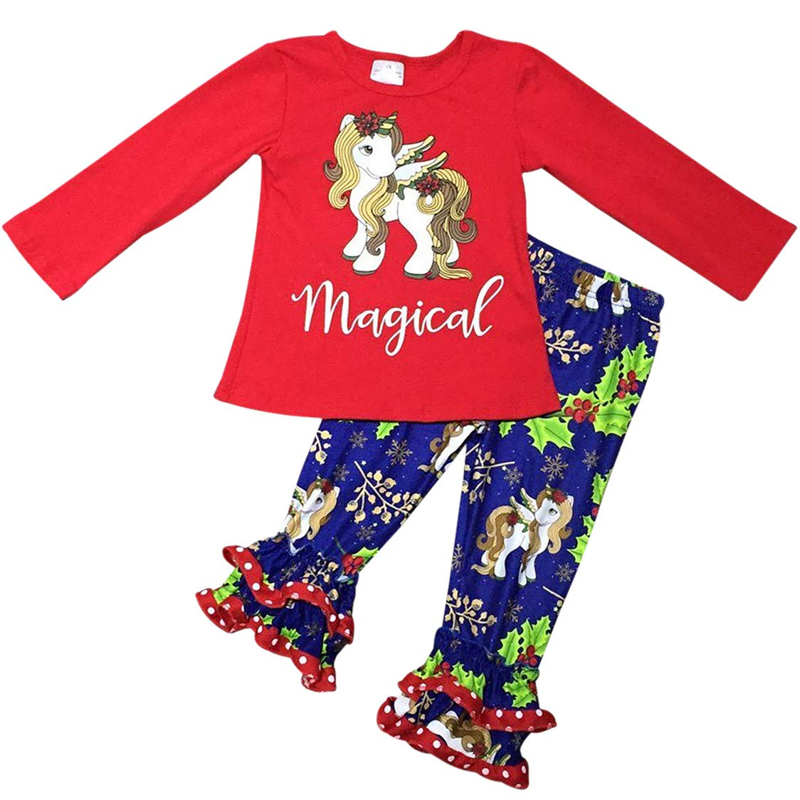 Big Girls' 2 Pieces Top Pant Set Unicorn Holiday Party Girl Clothing Set Red 7 XXL (P201993P)