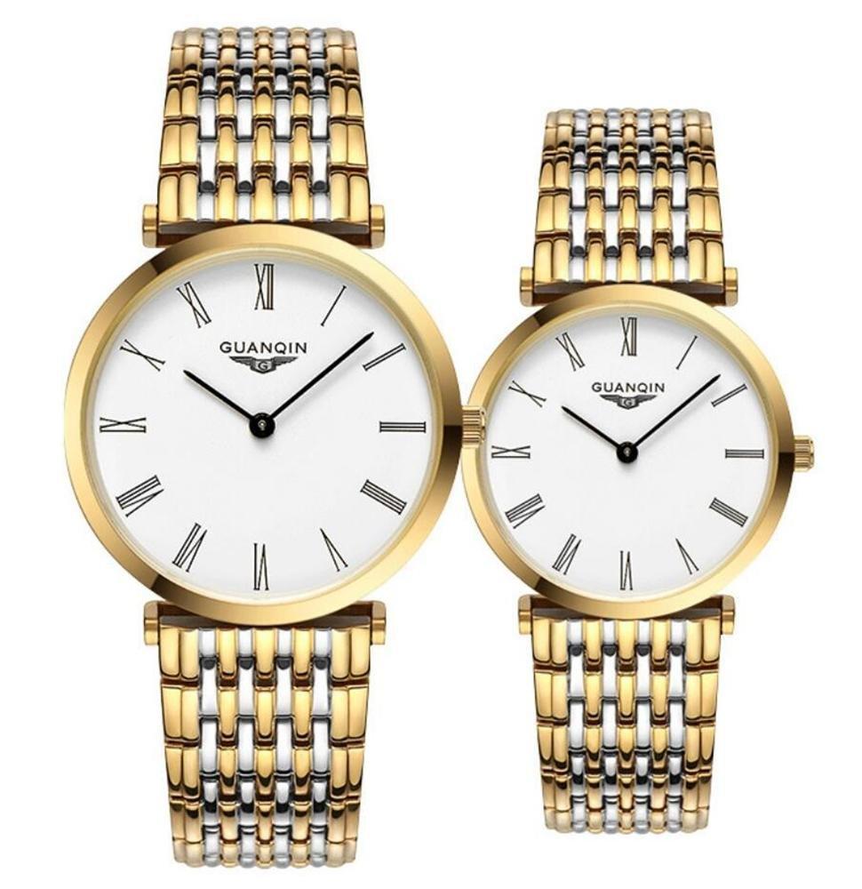 GUANQIN MÄnner und Frauen UltradÜnne Quarzuhren Einfache Edelstahl-Armbanduhren Uhren GQ90086-2