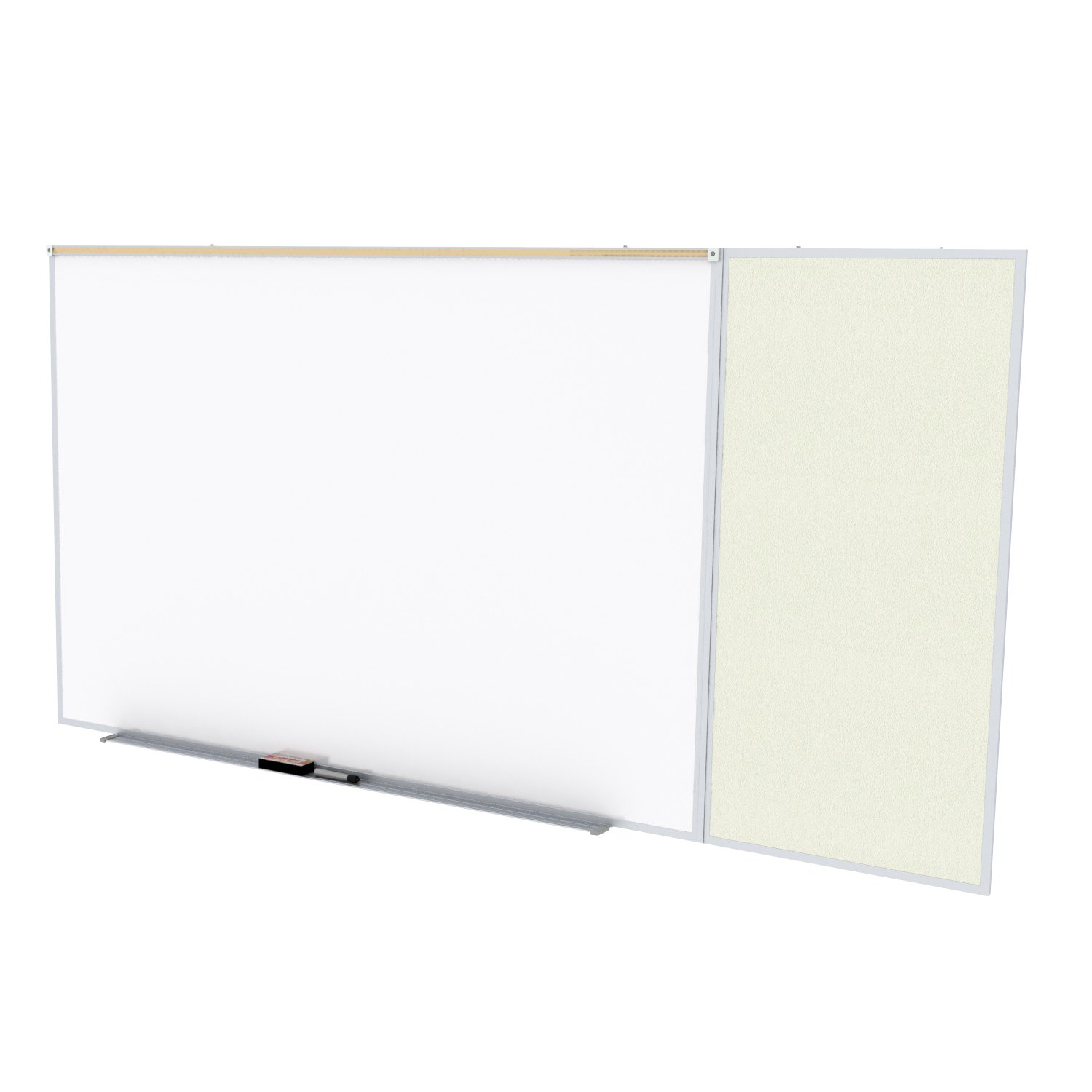 Ghent Style C 4 x 16 Feet Combination Board, Porcelain Magnetic Whiteboard and Vinyl Fabric Bulletin Board, Ivory , Made in the USA