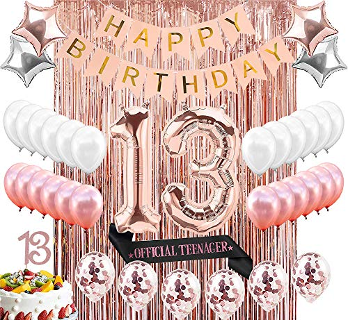 (Sllyfo 13th Birthday Decorations Party Supplies Kit - 13th Birthday Gifts for Girls,13th Cake Topper|Banner|sash|Rose Gold Curtain Backdrop Props|Confetti Balloons|Champagne Balloon.)