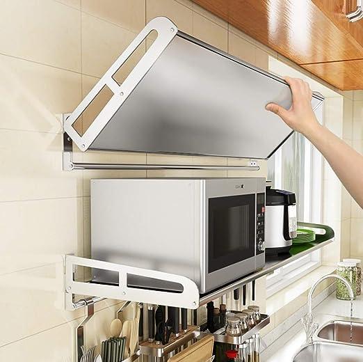 Estante de la cocina multifuncional Horno de microondas de montaje en pared estante de acero inoxidable retráctil del soporte del estante de la cocina for guardar 60x40x12.5cm rack Difícil soportar la: Amazon.es: