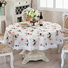 Table Cloth A Table Cloth Lace Sound Waterproof And Oil Proof Disposable Mat Plastic Tablecloth,Safflower,Diameter 180Cm Round Tablecloth