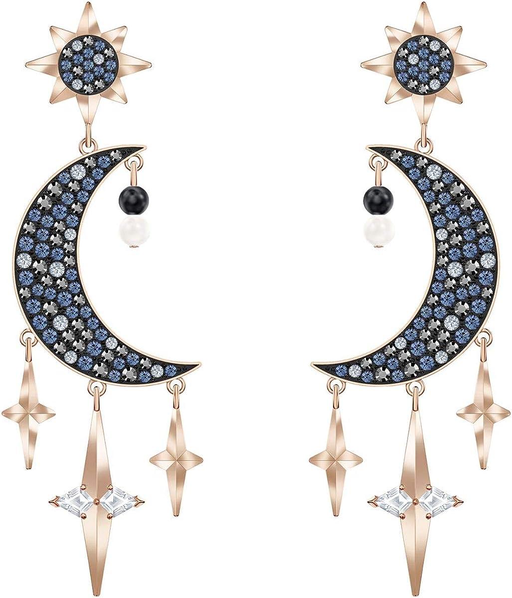 Swarovski - Pendientes de perlas de cristal simbólico auténtico, varios colores, acabado metálico