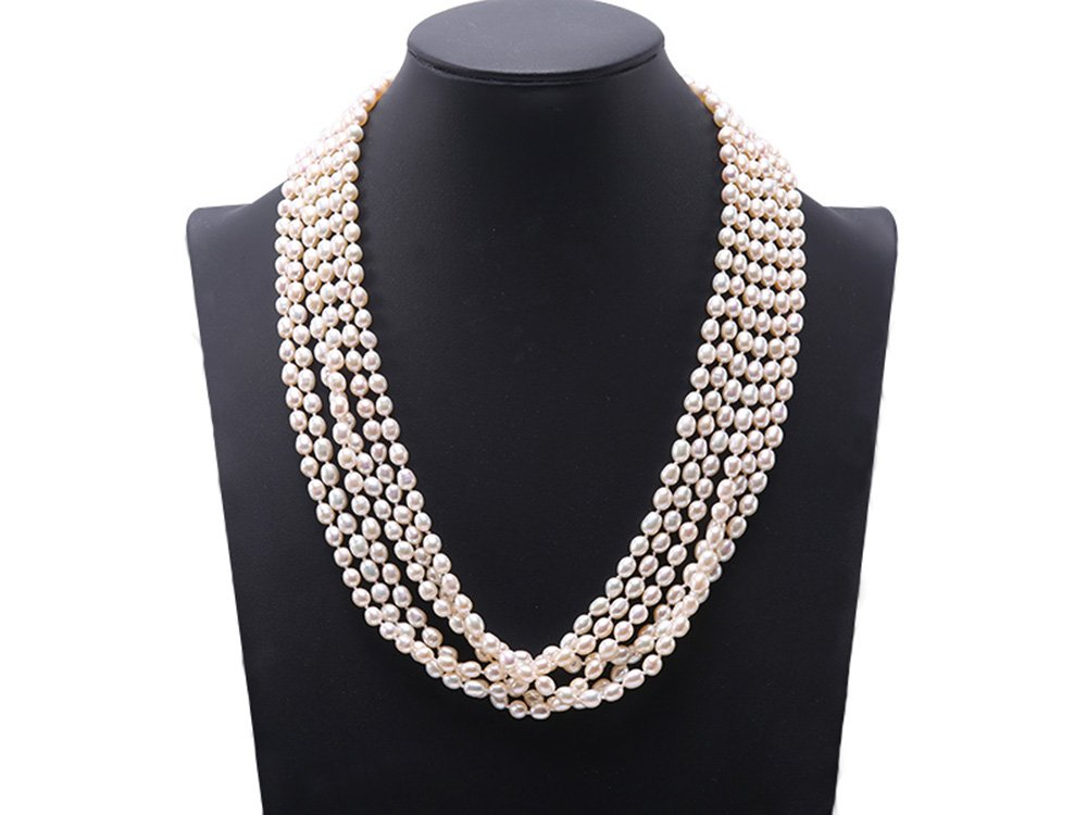 JYX Six-strand Oval White Freshwater Cultured Pearl Necklace 18''