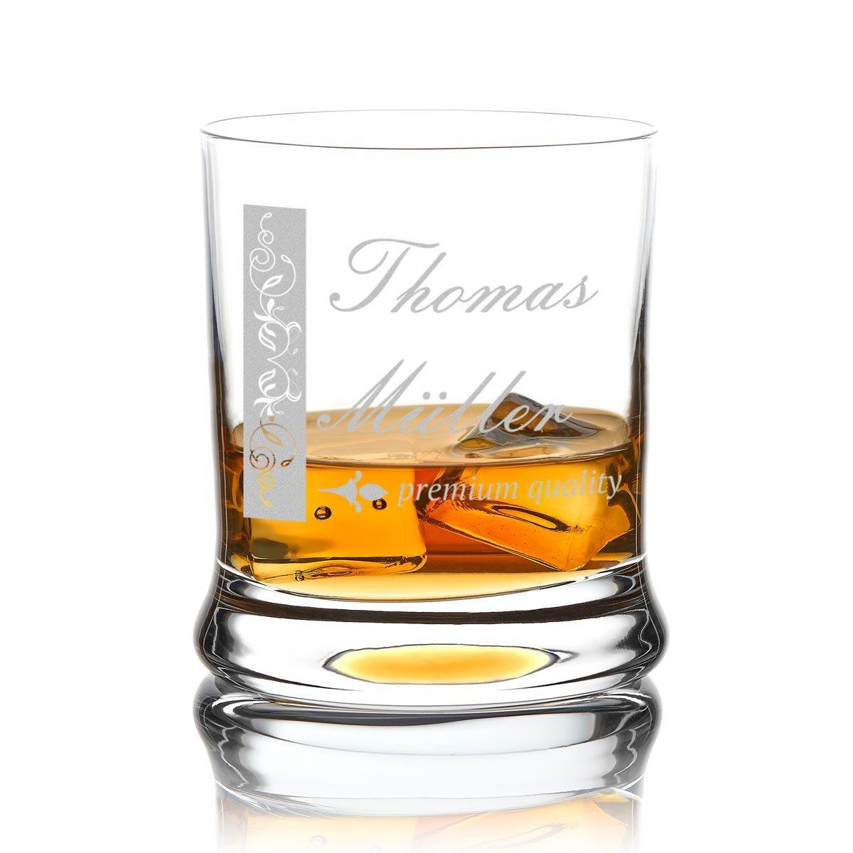 polar-effekt Leonardo Whiskyglas Personalisiert 350 ml - Tumbler für Whiskey, Scotch und Co - Männer-Geschenk mit Gravur Vorname und Nachname - Motiv verschnörkelter Rahmen