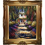 overstockArt Garden Path at Giverny with Victorian Gold Frame Oil Painting by Claude Monet