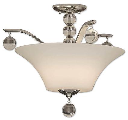 Uttermost 19 6 inch kane 2 lt semi flush mount ceiling light fixture polished nickel metal