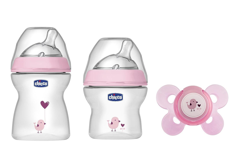 Chicco NaturalFeeling - Set de regalo con 2 biberones y chupete de silicona para bebé de 0 meses en adelante, color azul 00080711620000