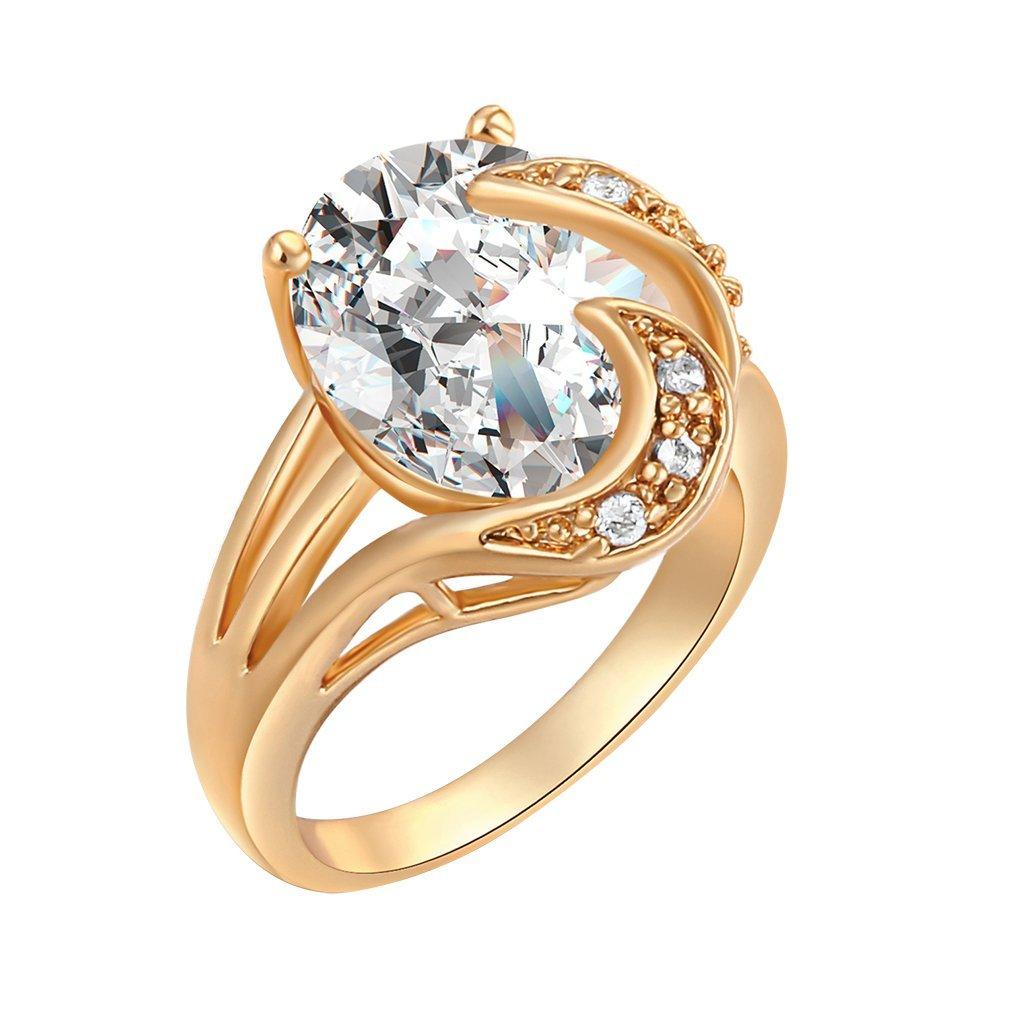 Yazilind 18K Elégant Gorgeour Solitaire Cristal Party Blanc Ring Femmes plaqué Or Présent