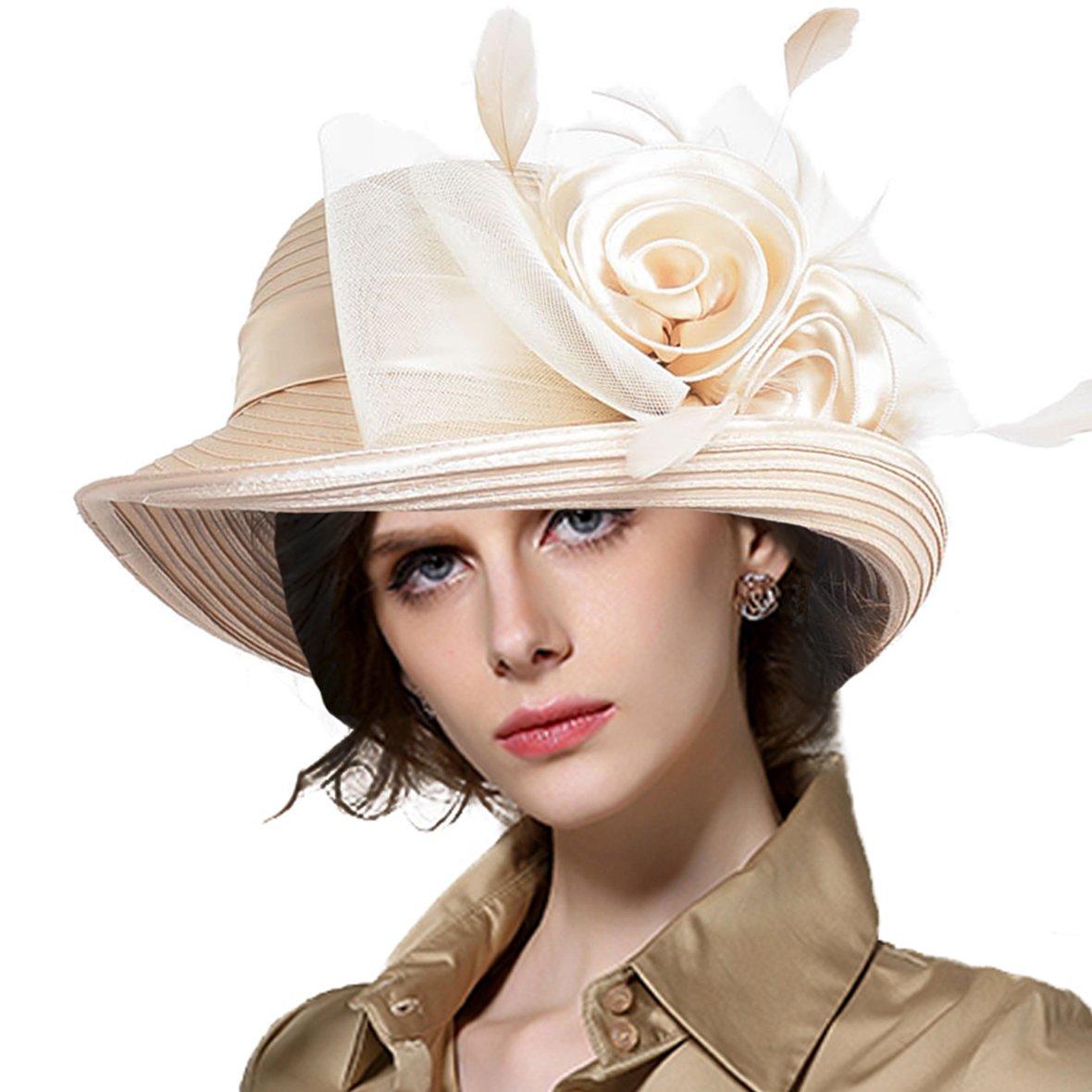 VECRY Lady Derby Dress Church Cloche Hat Bow Bucket Wedding Bowler Hats (Bowler-Apricot),Medium