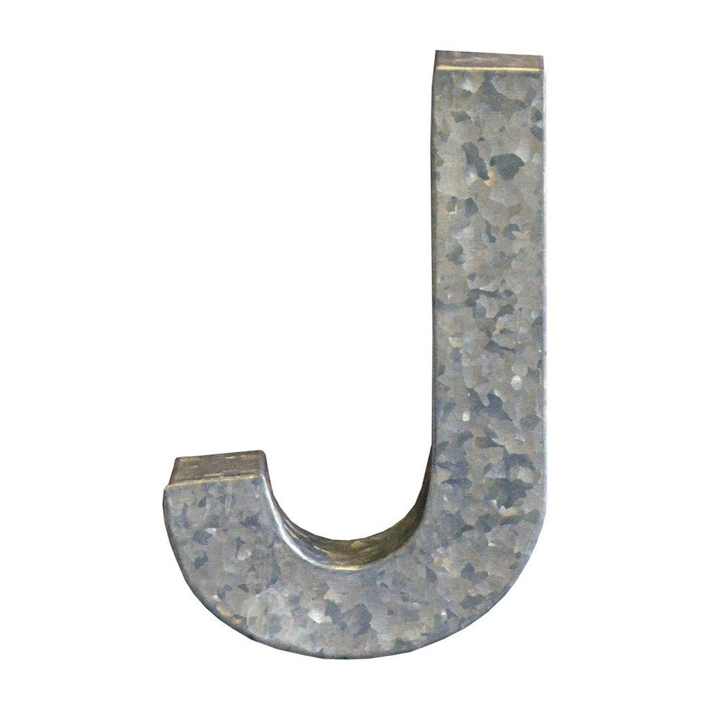 Modelli Creations Alphabet Letter J Wall Decor, Zinc