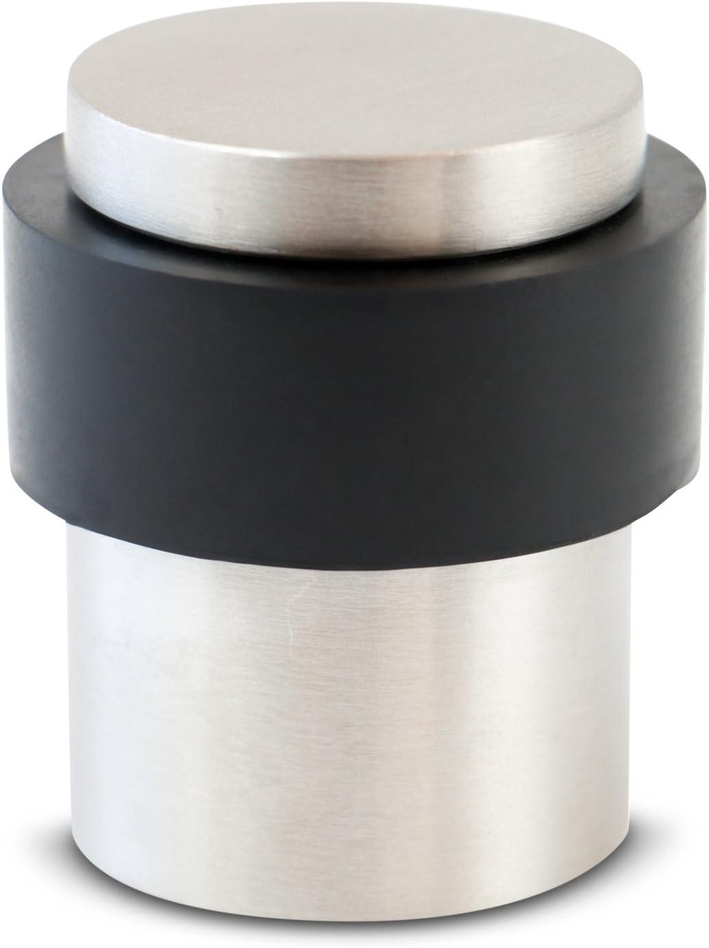 Stoppwerk Topes para puertas de acero inoxidable - Tope para montaje en el suelo - Ø 3,5 cm Altura: 4 cm - Tope de puerta