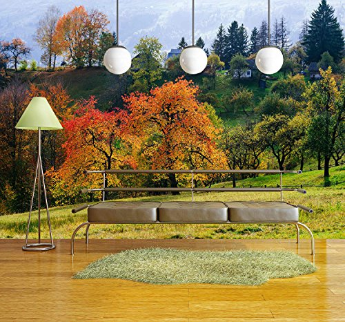 wall26 - Autumn Cherry Tree in a Mountain Village. Solar Landscape. Carpathians, Ukraine, Europe - Removable Wall Mural | Self-adhesive Large Wallpaper - 66x96 inches by wall26