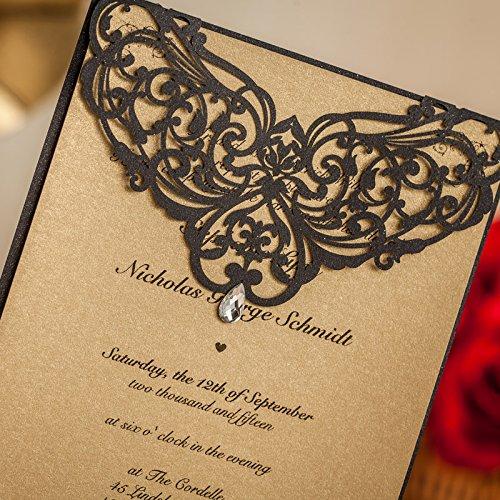 Luxury Rhinestone Gem Diamond Floral Wedding Invitations Elegant Black Laser Cut Party Decorations Friend Cards LA825 (100) by Wishmade (Image #2)