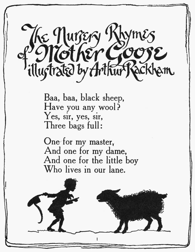 Baa Baa Black Sheep Print Home Wall Art Nursery Poster