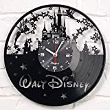 Disney Vinyl Wall Clock Decorations Art Disney Kids Gift Laser Cut Record Clock Kids Room Decor Vinyl Wall Decal Art Unique Living Room or Bedroom Decor Art black
