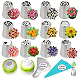 K&S Artisan Russian Piping Tips 26-Pcs 12 Icing Frosting Nozzles Cupcakes Cake Decorating Supplies kit 1 Single Coupler 1Tri Color Coupler 10 Pastry Baking Bags 1 Silicone Bag 1 Leaf Tip + GIFT BOX!
