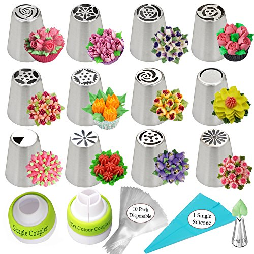 Russian Piping Tips 26-Pcs Russian Nozzles Icing Tips For Cake Cupcake Decorating Supplies Piping Tips Russian Tips Set Cake Frosting Tips Kit 12 Russian Piping Tips 2 Couplers 10 Pastry Baking Bags. (Decorating Baking Supplies And)