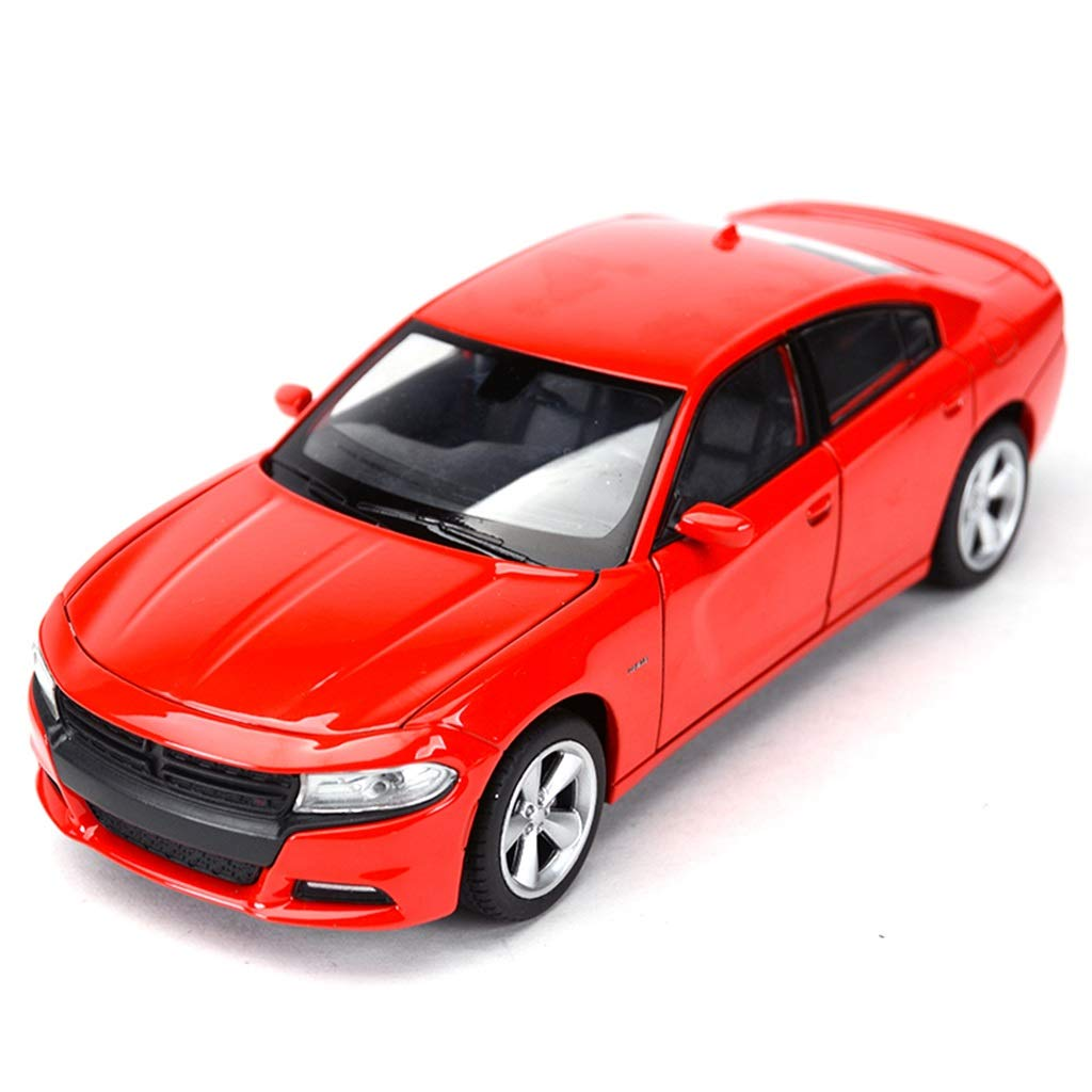 XINGPING-TOY 1:24 Dodge Warrior Challenger Polizeiauto US Muscle Car Statische Simulation Legierung Automodell (Farbe : ROT)