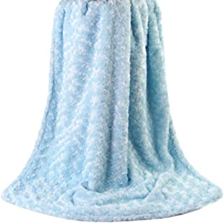 Floridivy Baby Warm Soft Touching 2-layer Plush Swirl Textured Velour Design Rosettes Ruffle Blanket