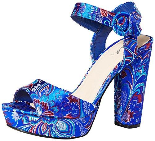 Con Multicolore Tacco Qupid Sandalo Donna Blu zd0zw