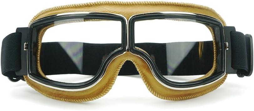 Heinmo Motocross Aviator Ski Motorrad Roller Brille Retro Helmbrille Für Harley White Lens Yellow Padding Auto