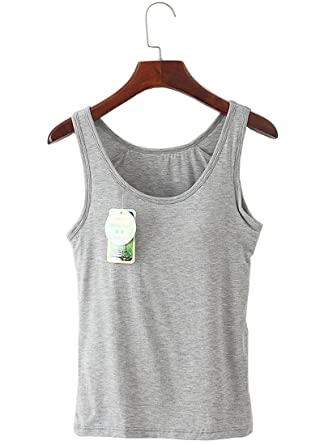 9967a7ab59201 Rofala Women s Camisole Built-In Shelf Bra Soft and Stretchable Tank Top  Gray US 0