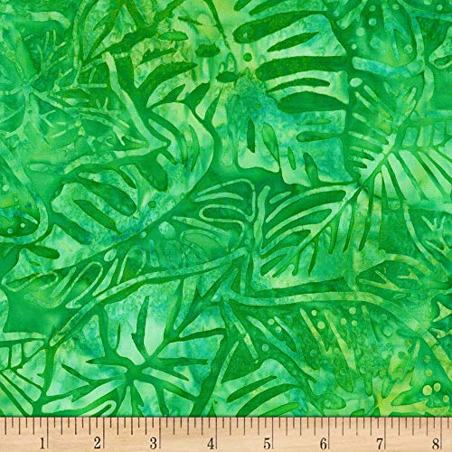 (Robert Kaufman Kaufman Artisan Batiks Totally Tropical Multiple Leaves Island Green, Fabric by the Yard)
