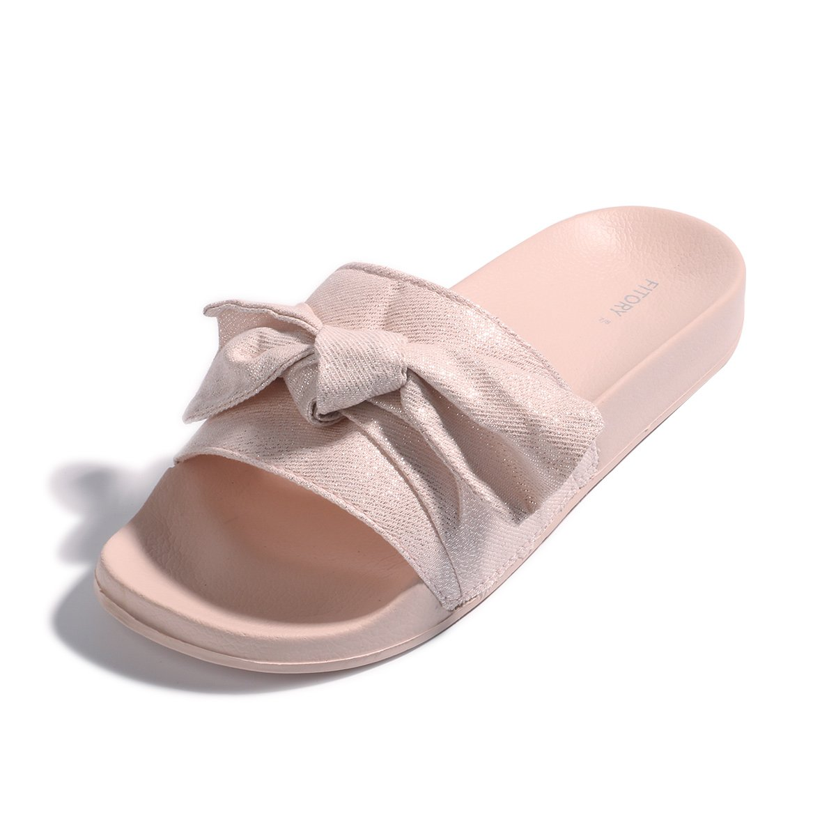 FITORY Womens Slides, Bow Sandals with Arch Support Comfortable Beach Slippers for Summer