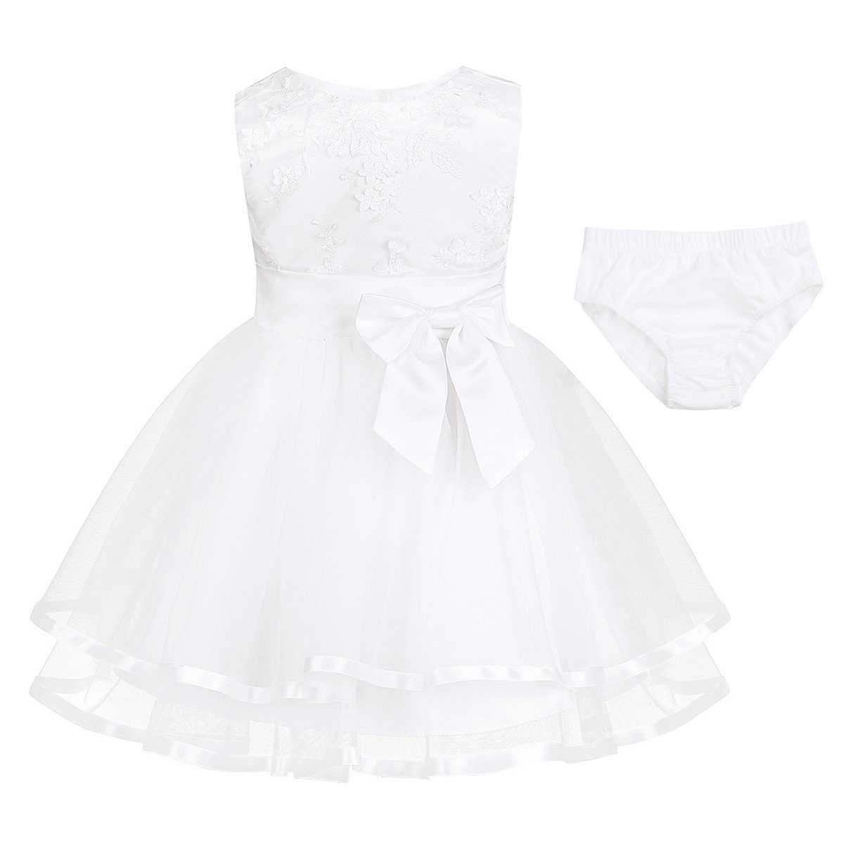 iEFiEL Baby Girls Sleeveless Embroidered 3D Flower Dress Wedding Birthday Party Pageant Christening Bloomers