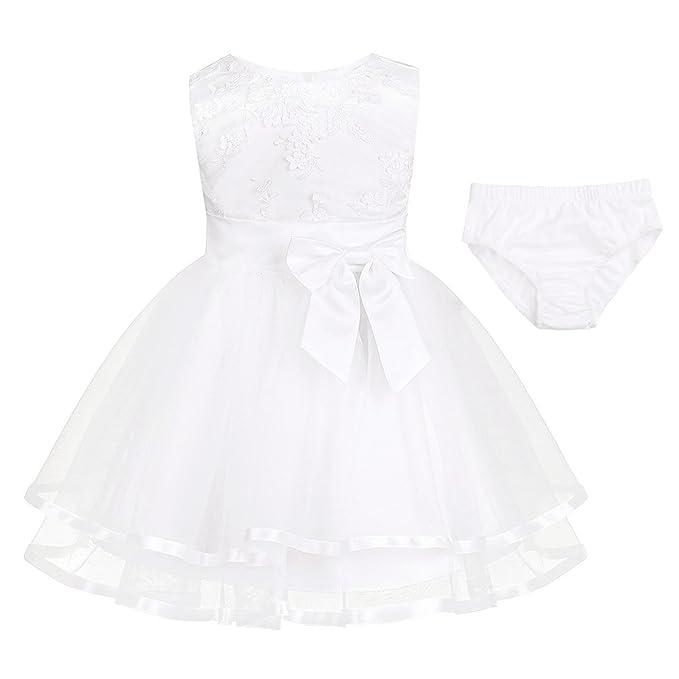 Freebily Vestido Blanco Brodado de Princesa Boda Fiesta Bautizo para Bebé Niña Recién Nacido (0