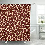 TOMPOP Shower Curtain Brown Africa Giraffe Fur Pattern Animal Skin African Camouflage Waterproof Polyester Fabric 60 x 72 inches Set with Hooks