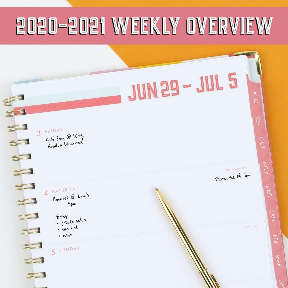 KK100-405A Large KK100-405A-21 Hardcover Cottage Stripes 8 x 10 Cambridge Academic Planner 2020-2021 Katie Kime For  Weekly /& Monthly Planner