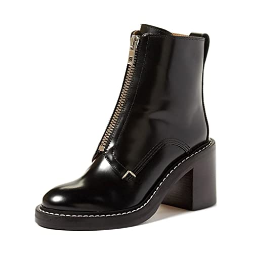 Amazon.com   FSJ Women Comfy Stacked Heels Ankle Boots with Front Zipper  Round Toe Handmade Shoes Size 4-15 US   Ankle   Bootie a59dd988deba