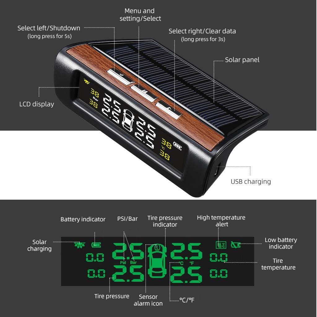 VETOMILE D68 Syst/ème de Surveillance de Pression des pneus TPMS Temp/érature de Pneu 4 Pneus Barre PSI Chargement USB de l/énergie Solaire Surveillance LCD Batterie Longue dur/ée