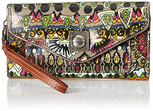 Sakroots Artist Circle Flap Wallet, Charcoal One World, One Size