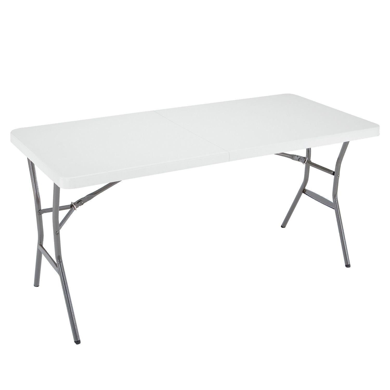 Lifetime 5-Foot Light Commercial Fold-In-Half Table - White Granite by Lifetime