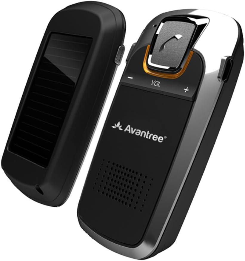 Avantree [Versión Mejorada] Sunday Plus Kit de Coche Bluetooth con Carga Solar, Altavoz de Parasol Manos Libres Inalámbrico, soporta GPS y Música