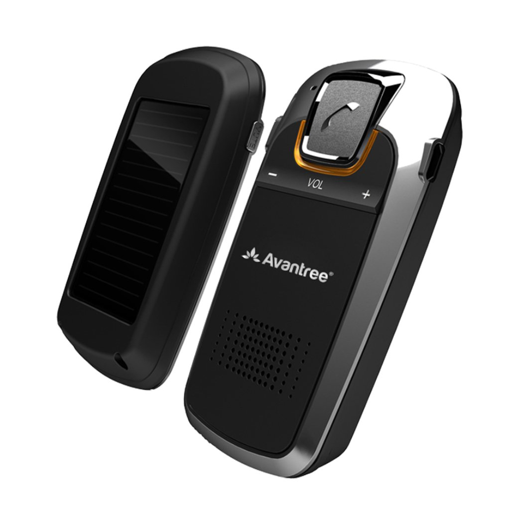 2 Year Warranty GPS and Music Avantree Solar Charging Bluetooth Car Handsfree Kit for Hands Free Call Connect Two Phones Wireless in Car Visor Speakerphone Kits for Cell Phones