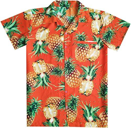 - Virgin Crafts Hawaiian Shirts for Men Button Down Casual Couple Dress Cut Pineapple Orange L